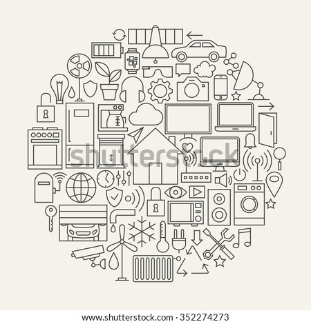 Technology House Line Icons Set Circle Shape. Vector Illustration of Smart Home Technology Modern Objects.