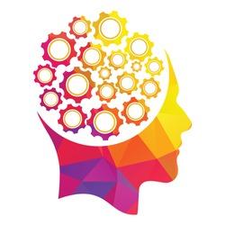 Technology Human Head Logo Icon Design. Digital human head brain shape with gears idea concept innovation genius.