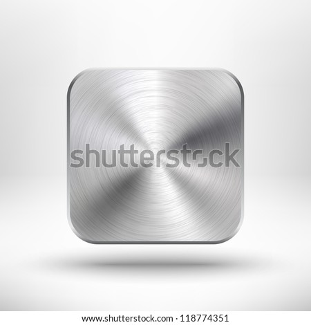 Technology icon (button) with metal texture (stainless steel, chrome, silver), realistic shadow and light background for internet sites, web user interfaces (ui) and applications (app). Vector design.