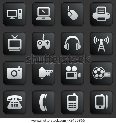 technology icon on square black