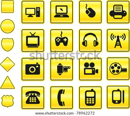 Technology Icon on Yellow Sign Button Collection Original Illustration