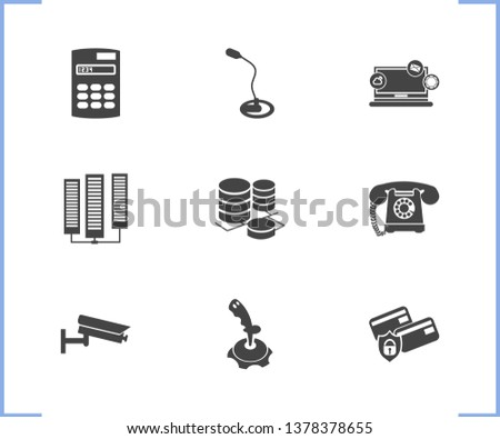 Technology icon set and calculator with video control, computer widget, landline telephone. Database related technology icon vector for web UI logo design.