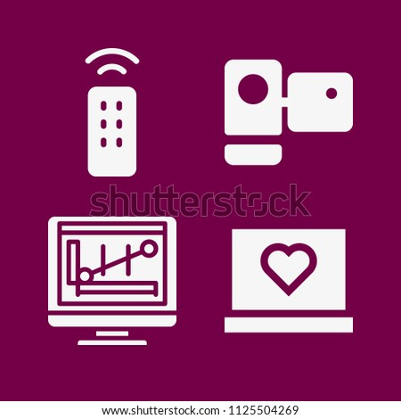 Technology icon set - filled collection of 4 vector icons such as remote control, monitor, laptop