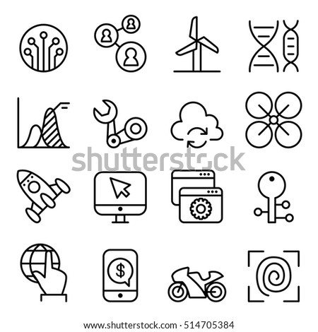 Technology icon set in thin line style
