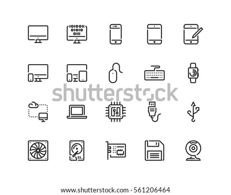 technology icon set  outline