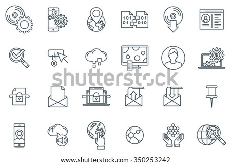 technology icon set suitable