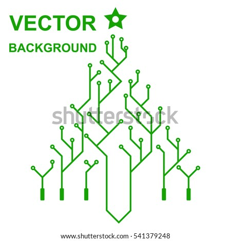 Technology icon with logo printed circuit board. Christmas tree, New Year. Flat design style. Vector illustration. High tech. Green background.