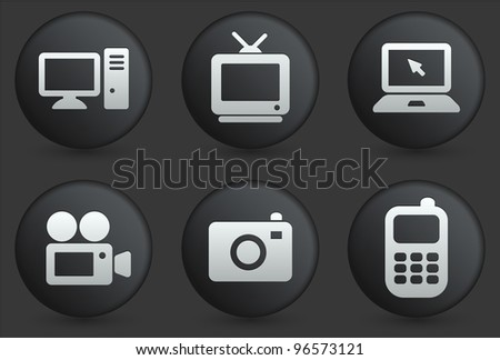 Technology Icons on Black Internet Button Collection Original Illustration - stock vector