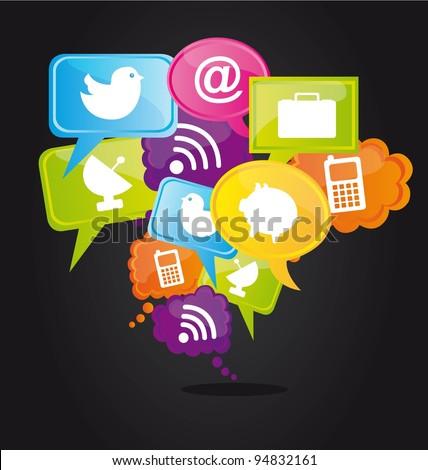 Technology icons on colors bubbles, cloud concept