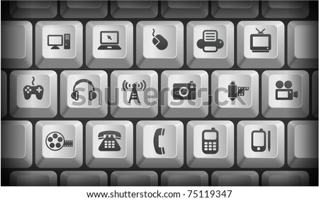 Technology Icons on Gray Computer Keyboard Buttons Original Illustration - stock vector