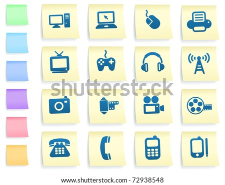Technology Icons on Post It Note Paper Collection Original Illustration