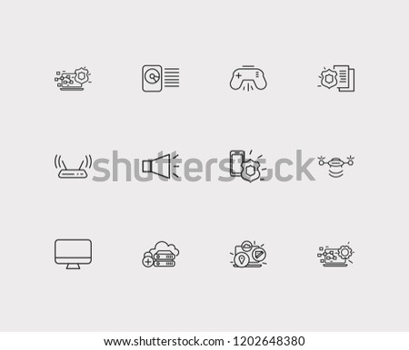 Technology icons set. Bullhorn and technology icons with modem, computer widget and monitor. Set of backup for web app logo UI design.