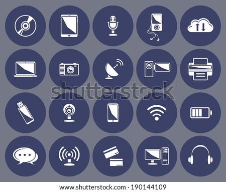 Technology icons set:computer, tablet, phone, laptop, clouds, microphone, wireless, headphones, player, camera, printer, internet credit card ...