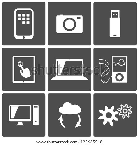 Technology icons set: computer, touch screen, photo, player, cloud, usb