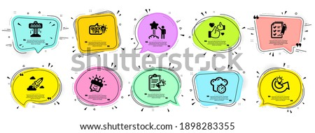 Technology icons set. Speech bubble offer banners. Vector coupon badge. Included icon as Star, Megaphone checklist, Smile signs. Share idea, Survey checklist, Attraction symbols. Vector Photo stock ©