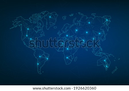 Technology image of globe. Abstract polygonal shapes. Background with connecting dots and lines. Graphic concept for your design