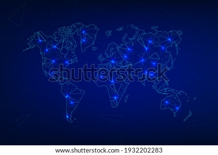 Technology image of globe. Abstract polygonal shapes. Background with connecting dots and lines. Graphic concept for your design Stock fotó ©