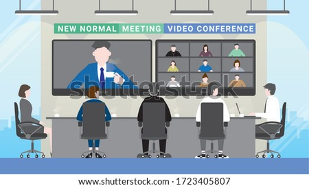 Technology in business concept. Business people meeting lifestyle after pandemic covid-19 corona virus. New normal is social distancing and video conference. Flat design style vector concept