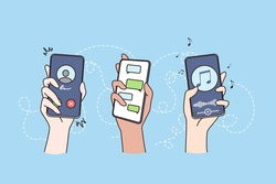 Technology, internet, wireless communication concept. Hands of people holding smartphones with various applications on screens vector illustration
