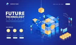 Technology isometric concept. Abstract future high tech vector illustration
