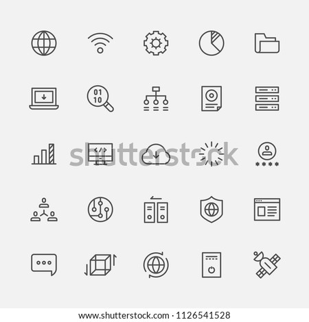 technology line icons flat design style vector graphic illustration set