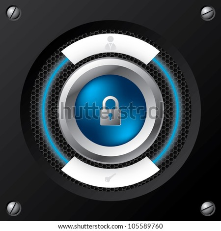 Technology login screen with big padlock button