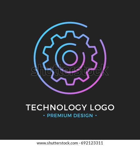 Technology logo. Cog, gear icon in circle. Premium design. Trendy linear style. Abstract concept. Simple round line icon isolated on black background. Creative modern vector logo