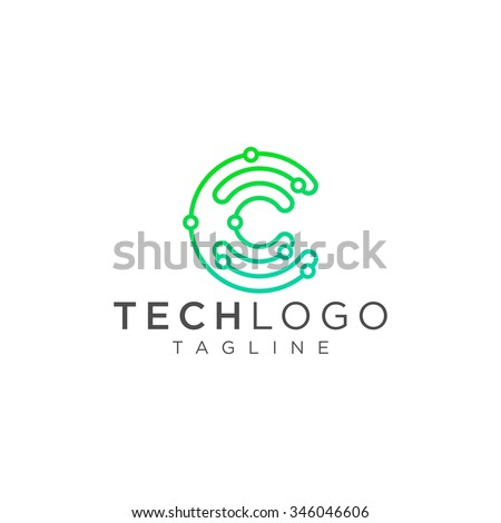 technology logo  computer and