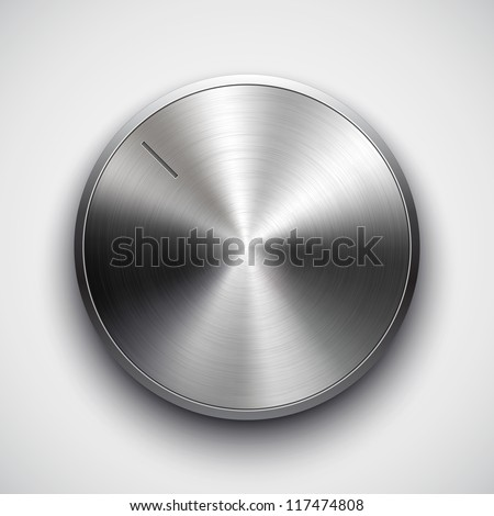 Technology music button (volume settings, sound control knob) with metal texture (stainless steel, chrome), shadow and light background for web user interface interface (ui). Vector illustration.