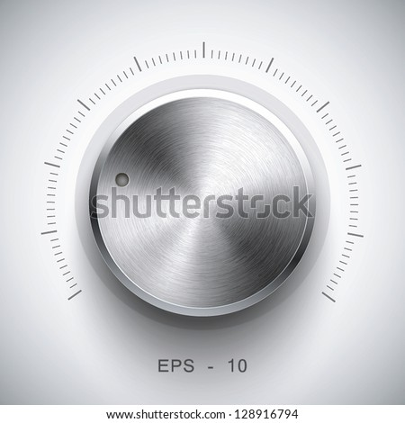 Technology music button (volume settings, sound control knob) with metal texture (stainless, steel, chrome), shadow and light background for internet sites, web interfaces (ui) and applications (apps) Stock photo ©