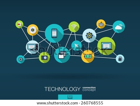 Technology network. Growth background with lines, circles, integrate flat icons. Connected symbols for digital, connect, communicate, social media and global concepts. Vector interactive illustration