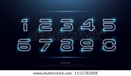technology number abstract neon