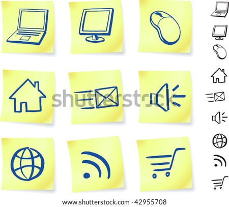 technology on post it notes original vector illustration Post it note sketches  black and white version included
