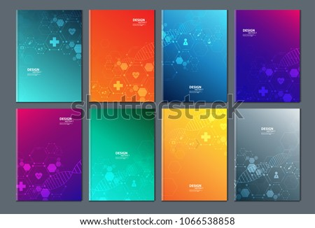 Technology or modern health care and science icon pattern medical innovation concept. Text frame surface. brochure cover design. Title sheet model set. Front page font vector design.