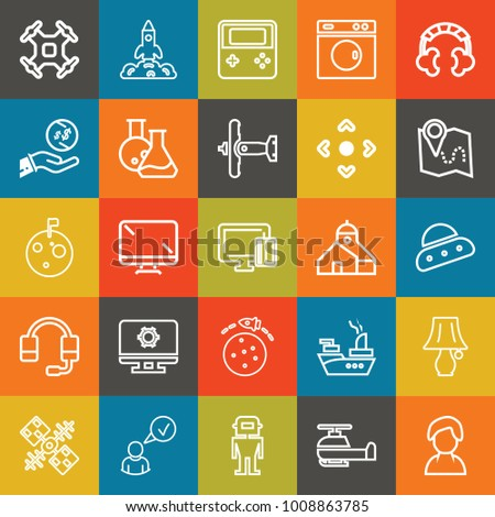 Technology outline vector icon set on colorful background #1008863785
