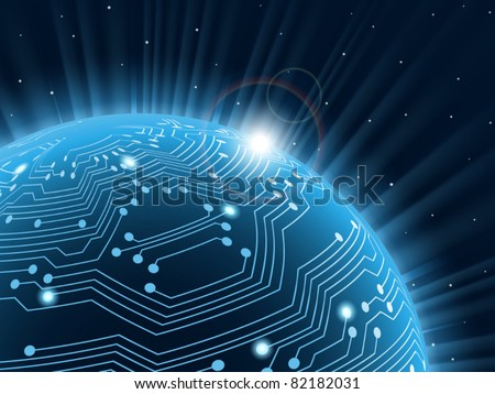 Technology planet. Vector illustration. .