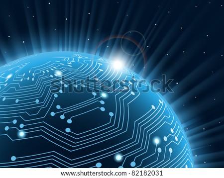Technology planet. Vector illustration. .