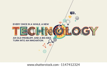 Technology quote in modern typography. Technology concept.