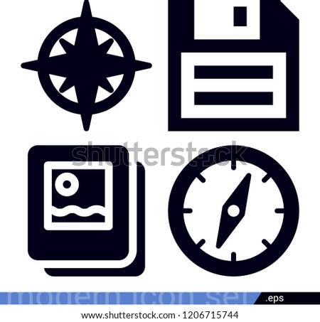Technology related filled vector icons contains such as compass, diskette, map icons  - pack of 4