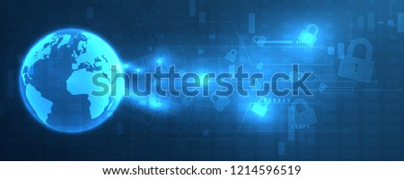 Technology security concept. Modern safety digital background. Protection of personal data. Vector illustration.
