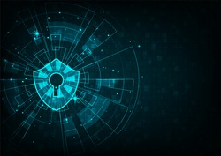 Technology security concept: Shield With Keyhole icon on digital data background. Illustrates.