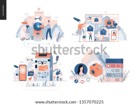 Technology 3 set - modern flat vector concept digital illustration- Marketing Promotion, Solution, Intelligent building, CRM Customer Relationship Management. Creative landing web page design template