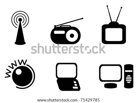 technology simple icon set