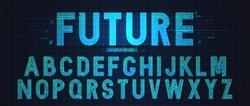 Technology simple type tech design. Vector typeset alphabet. Future typeface set. Geometric modern font.