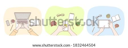 Technology, social media, work, business, freelance set concept. Businessperon freelancer hands using laptop martphone tablet for work social network communication. Digital technologies and epayment.