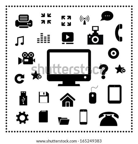 technology symbol set on white background