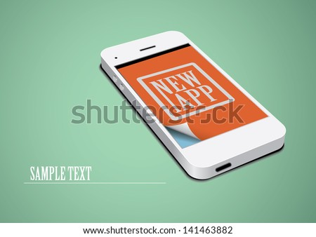 Technology Template. White Touchscreen Phone on Green Background.