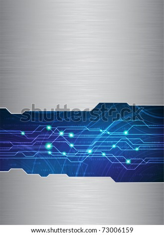 Technology theme vector template with brushed metal texture. Eps10