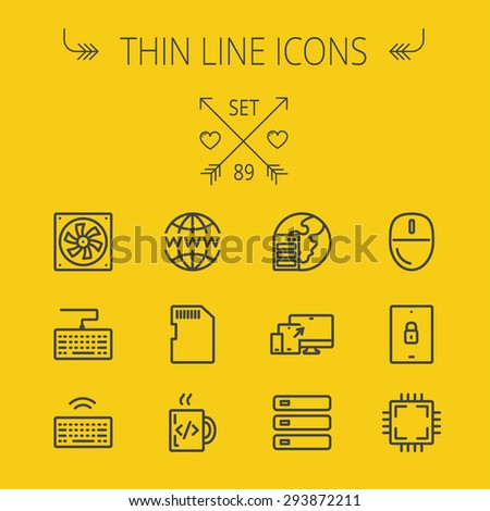 technology thin line icon set