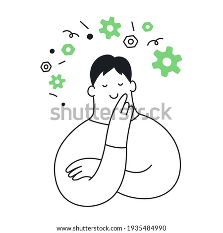 Technology thinking, cute cartoon mechanic, or developer surrounded by flying gears. Product development, science,  technological experiment. Thin line vector illustration on white.